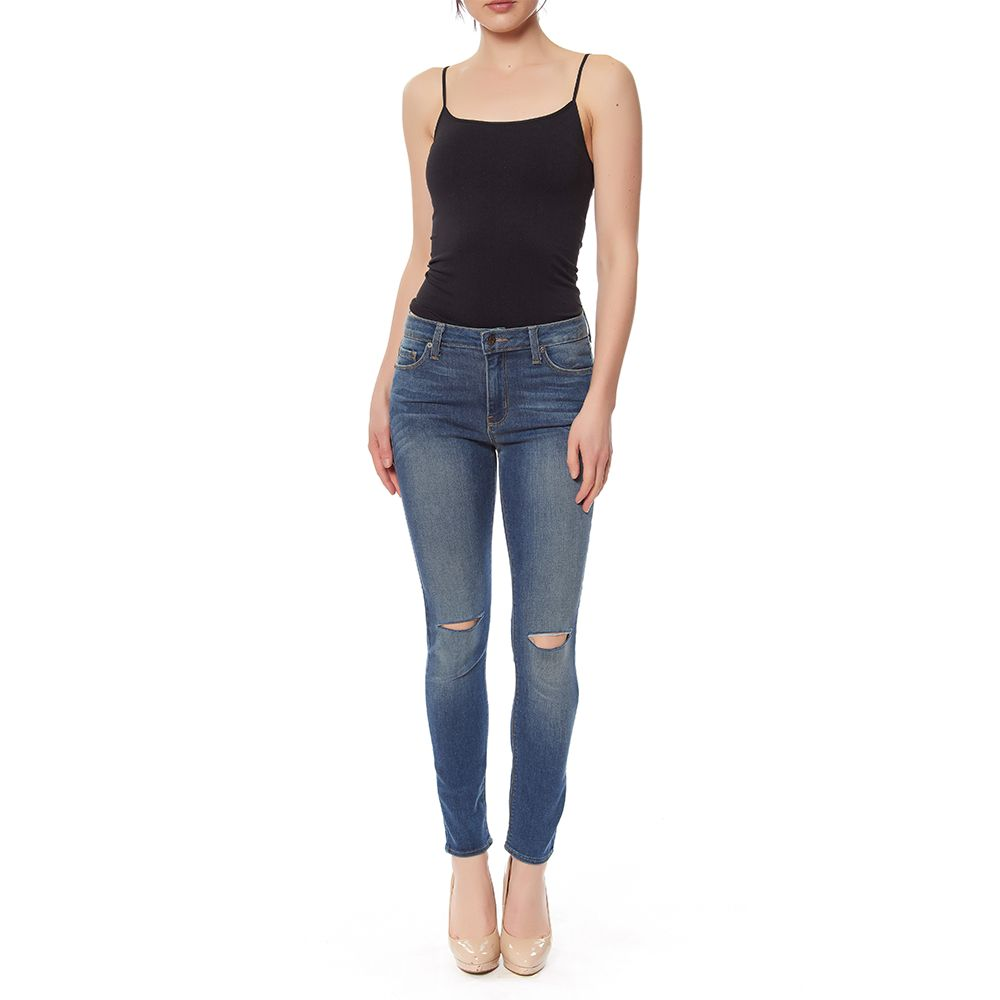 JUST BLACK HI RISE KNEE SLIT OVERDYE SKINNY JEAN