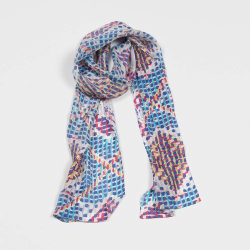 ECHO  PAINTERLY CHECK OBLONG SCARF