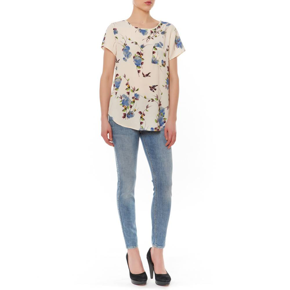 CAP SLEEVE FLORAL BIRDS BLOUSE