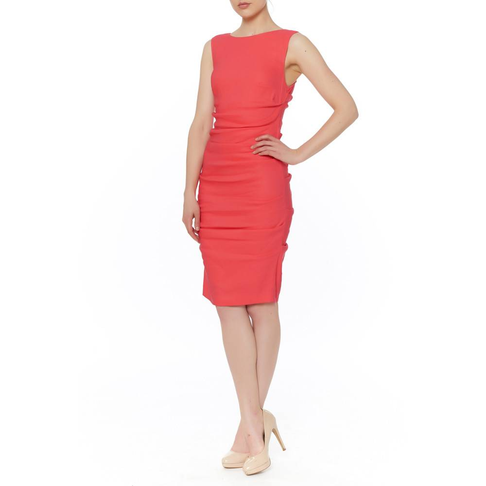 NICOLE MILLER SLEEVELESS TUCK DRESS
