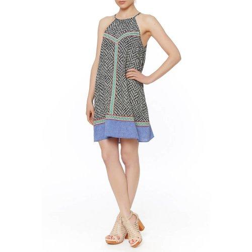PRNT TENT DRESS W/EMB