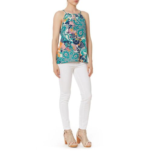 RENEE C. PRINT KEYHOLE SLVLESS TOP