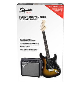 Squier Squier Affinity Series Strat Pack HSS w/Guitar & Amplifier - Sunburst