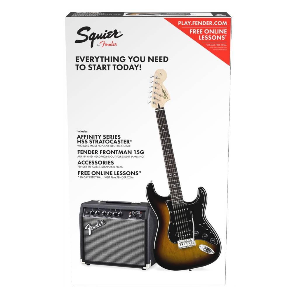 Squier Squier Affinity Series Strat Pack HSS w/Guitar & Amplifier, Sunburst