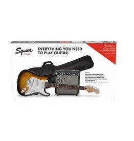 Squier NEW Squier Affinity Strat Pack HSS w/ Guitar & Amplifier - Brown Sunburst