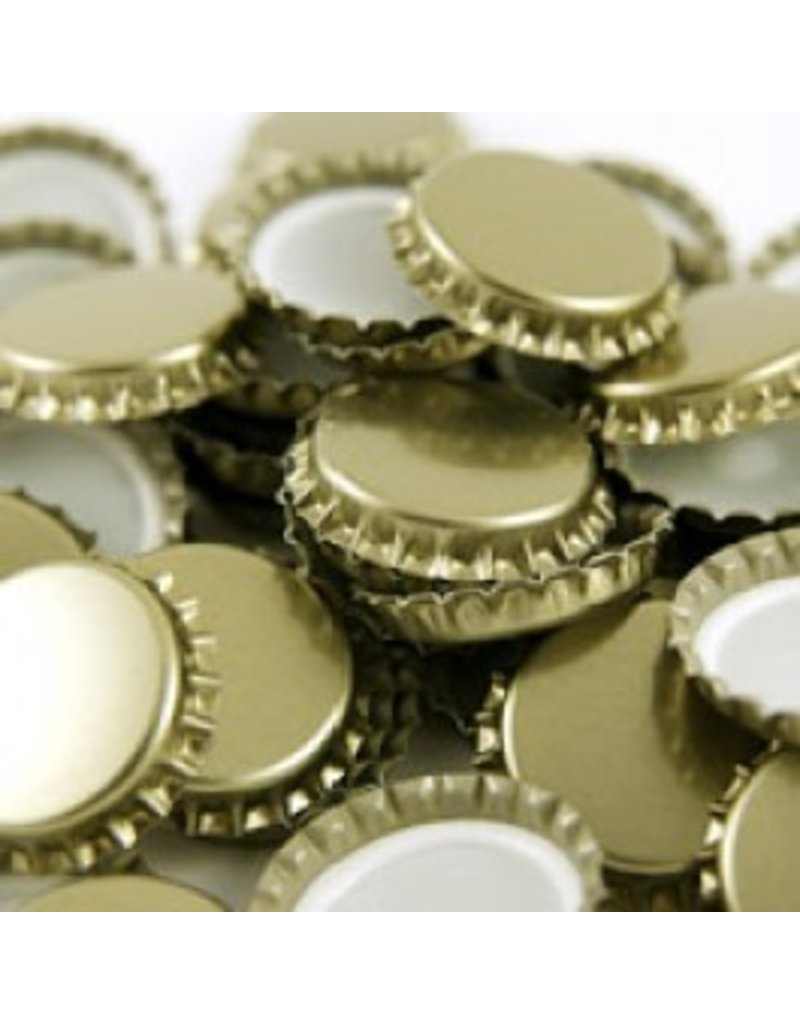 Crown Cap W/Oxy-Liner 100/Bag (Larger Euro Caps 29 mm)(Gold)