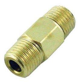 """Foxx Equipment Company Hex Nipple 1/4"""" MPT (RHT) x 1/4"""" MPT (LHT) (Brass)"""