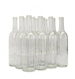 LD Carlson 750 mL Clear Bordeaux Flat Bottom 12/Case