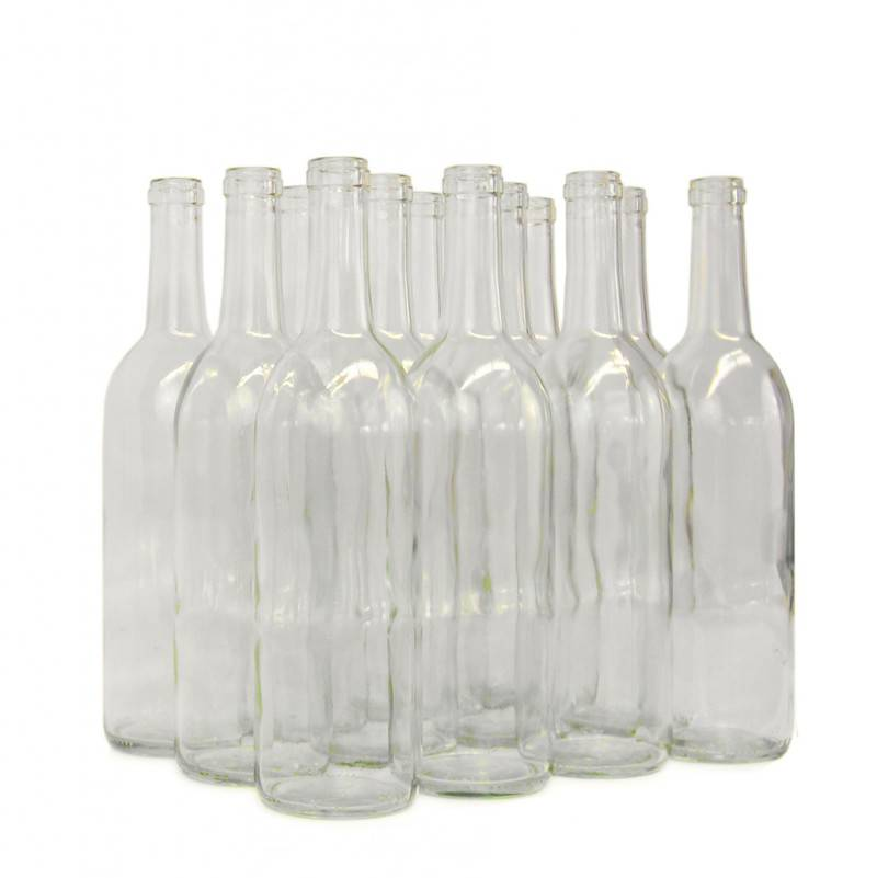 LD Carlson 750 mL Clear Bordeaux Flat Bottom 12/Case