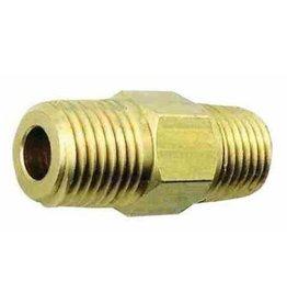 """Foxx Equipment Company Hex Nipple 1/4"""" MPT X 1/4"""" MPT (Brass)"""