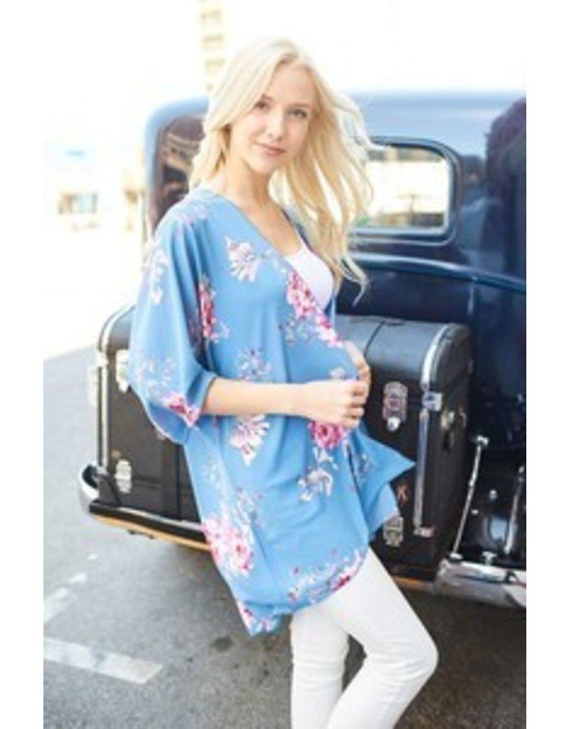 Blue Floral Kimono Cardigan - Southern Sass Boutique
