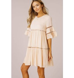 Ruffle Bell Sleeved Babydoll Dress