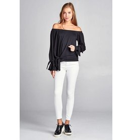 Take Me Out Off Shoulder Tie Sleeve