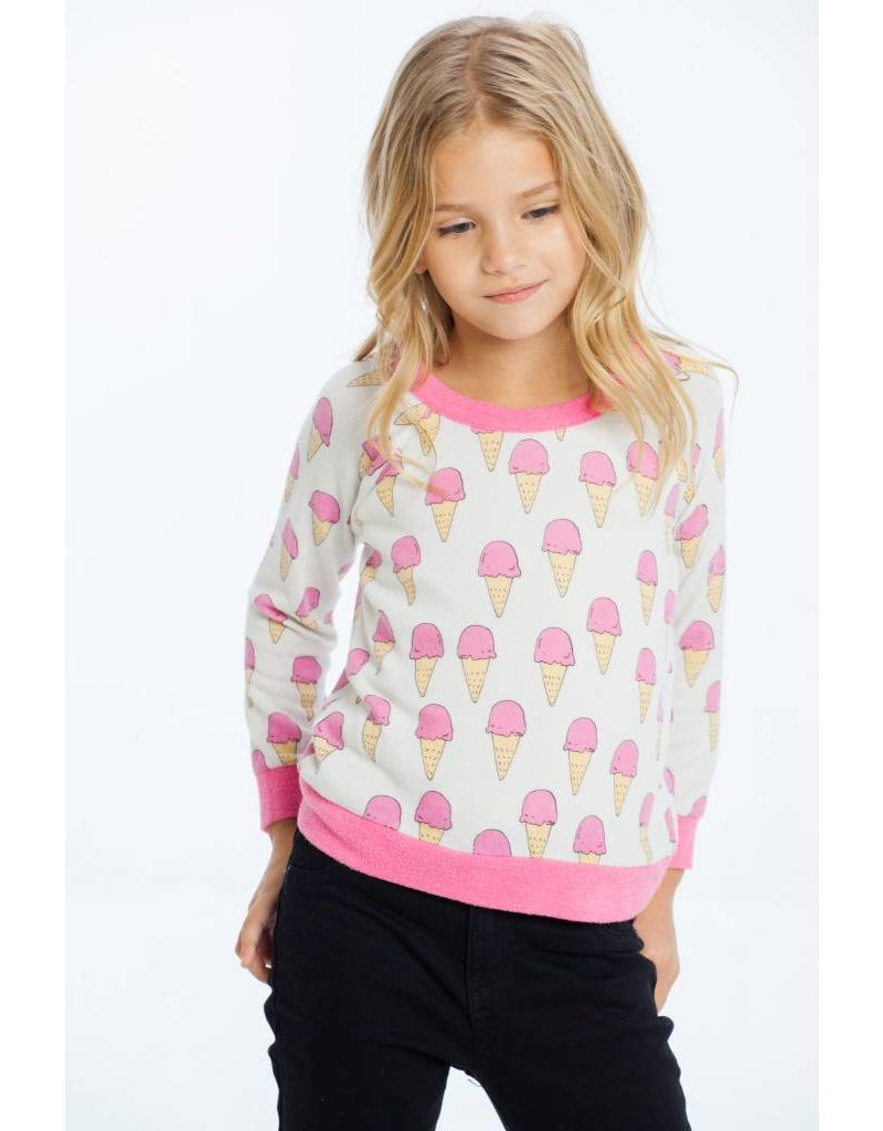 CHASER Love Knit Raglan Pullover, Ice Cream