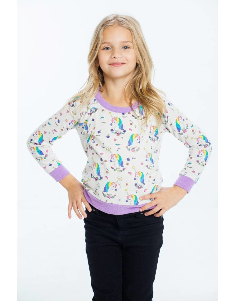 CHASER Love Knit Raglan Pullover, Unicorns