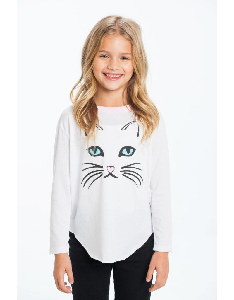 CHASER Vintage Jersey Long Sleeve Shirttail Tee, Kitty
