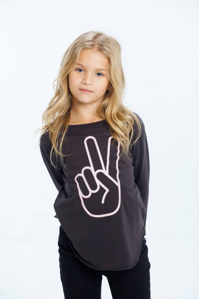 CHASER Vintage Jersey Long Sleeve Shirttail Tee, Peace Fingers