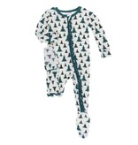 KICKEE PANTS Print Classic Ruffle Footie with Zipper Natural Christmas Tree