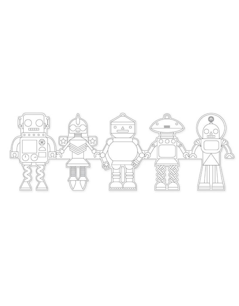PETIT COLLAGE Robots Paper Doll Chain