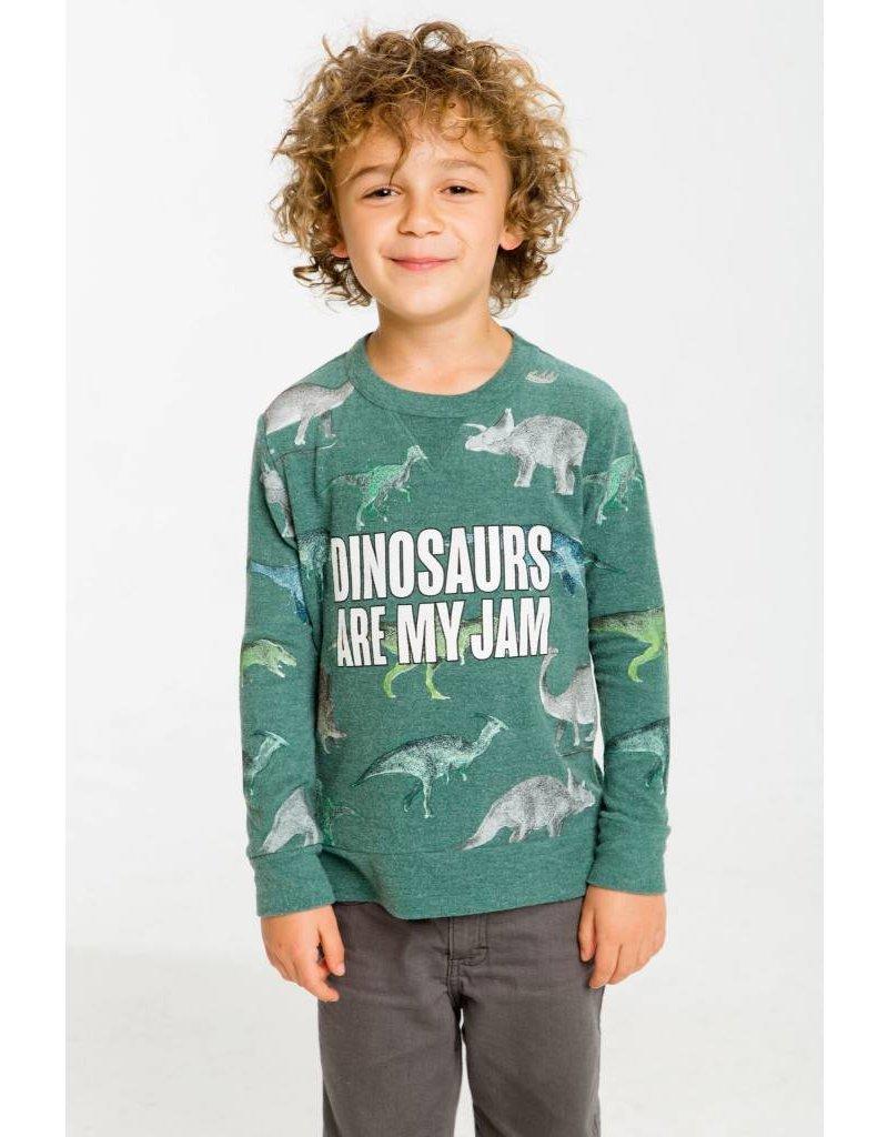 CHASER Dinosaur Knit Crew Neck Pullover