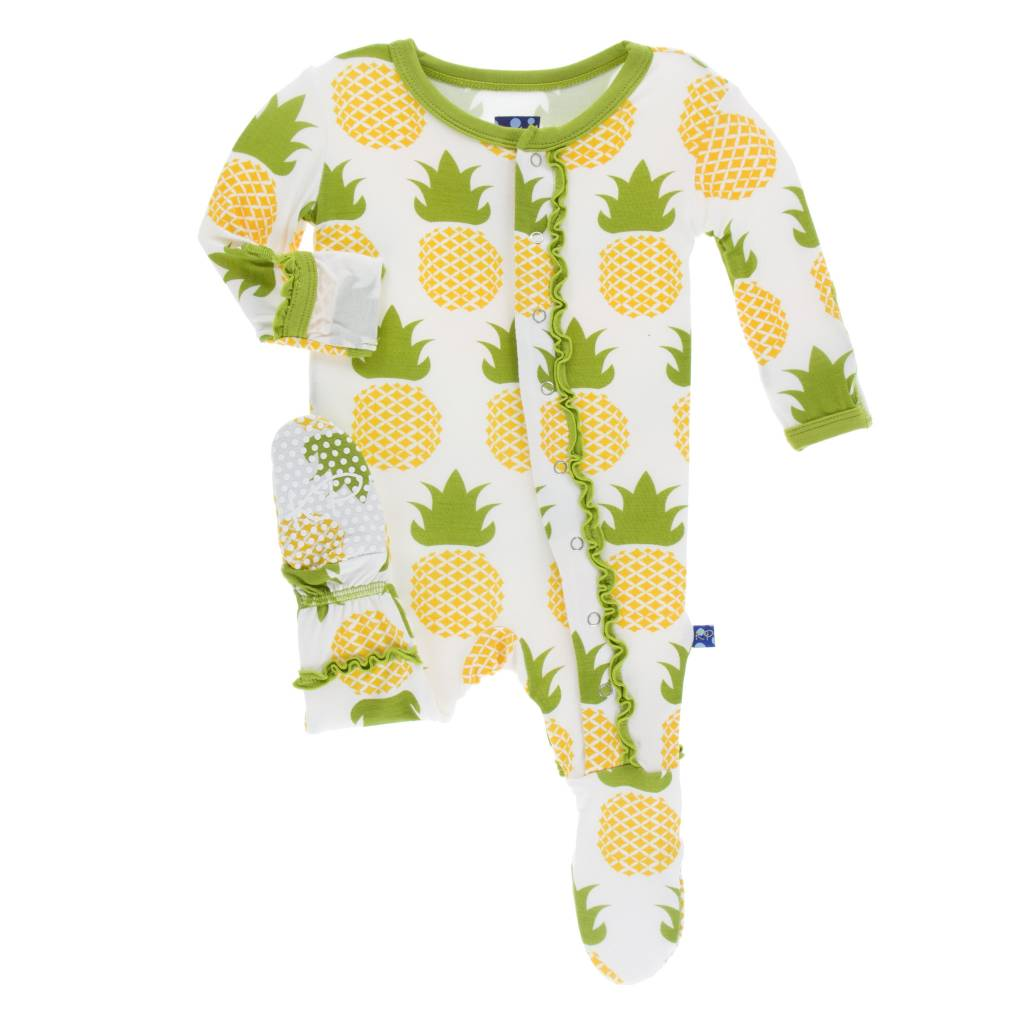 KICKEE PANTS Print Muffin Ruffle Footie with Snaps