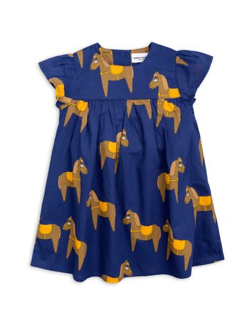 MINI RODINI Horse Woven Frill Dress