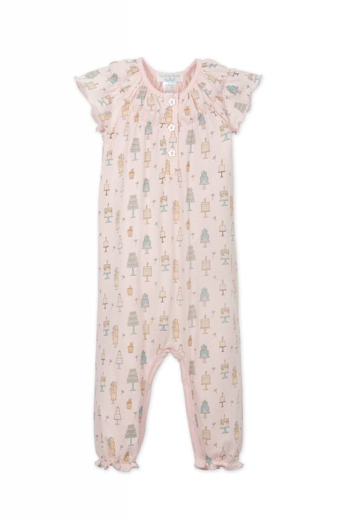 FEATHER BABY Ruched Romper Birthday Treat