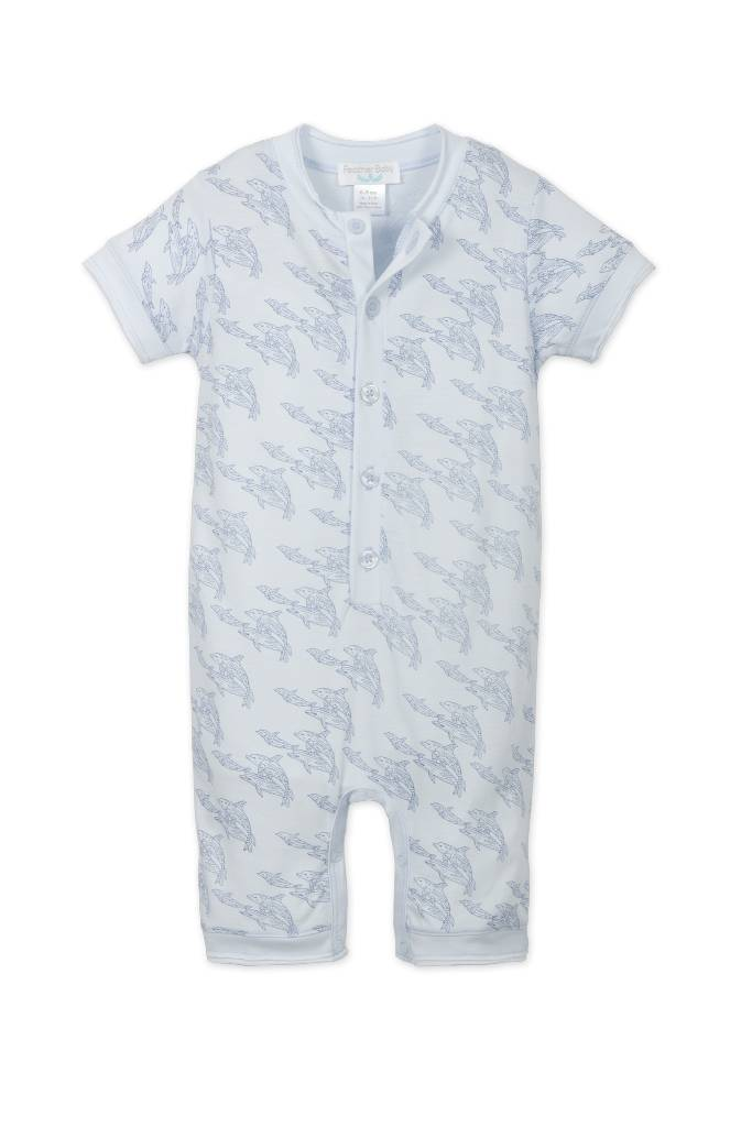 FEATHER BABY Henley Romper Dolphins