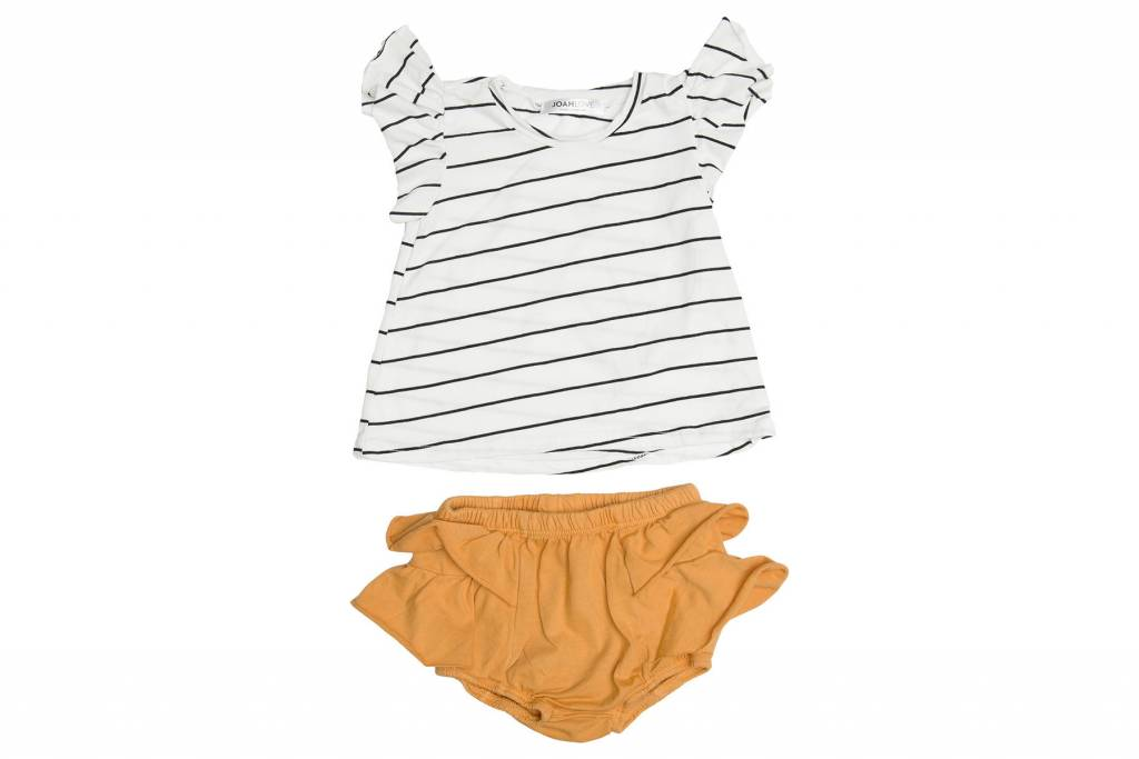 JOAH LOVE Stripe Ruffle Top with Bloomers