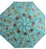 POWELL CRAFT Blue Floral Print Umbrella