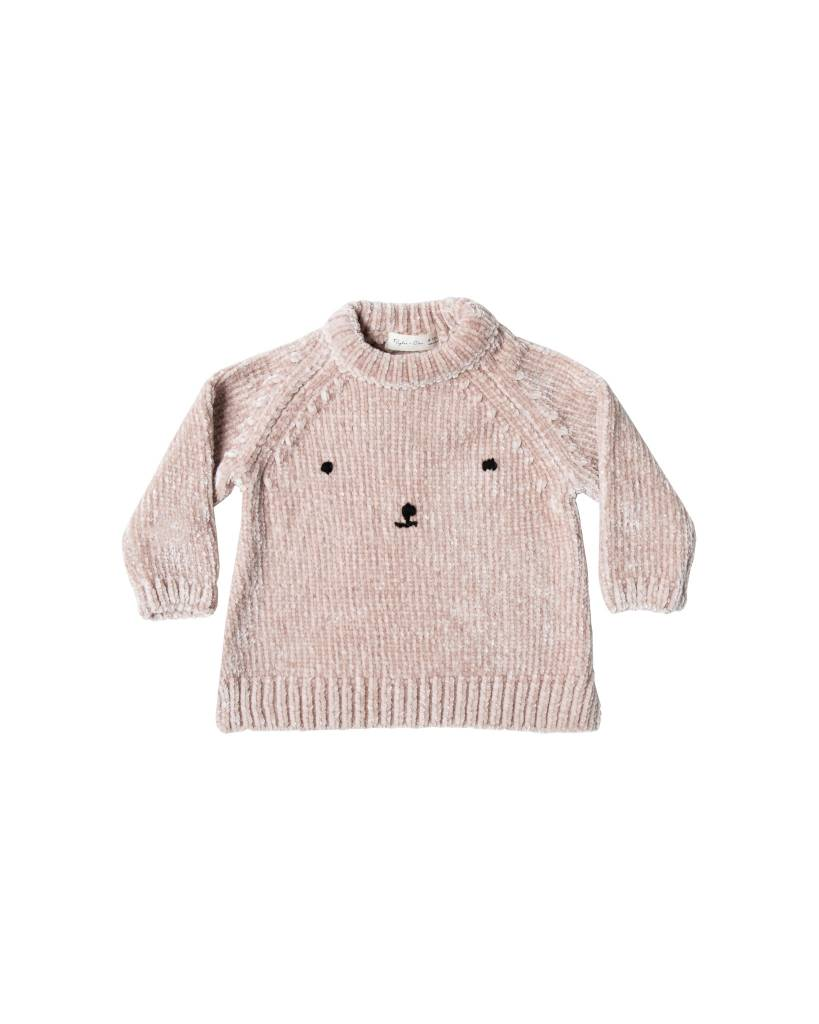 RYLEE AND CRU Bear Face Chenille Sweater