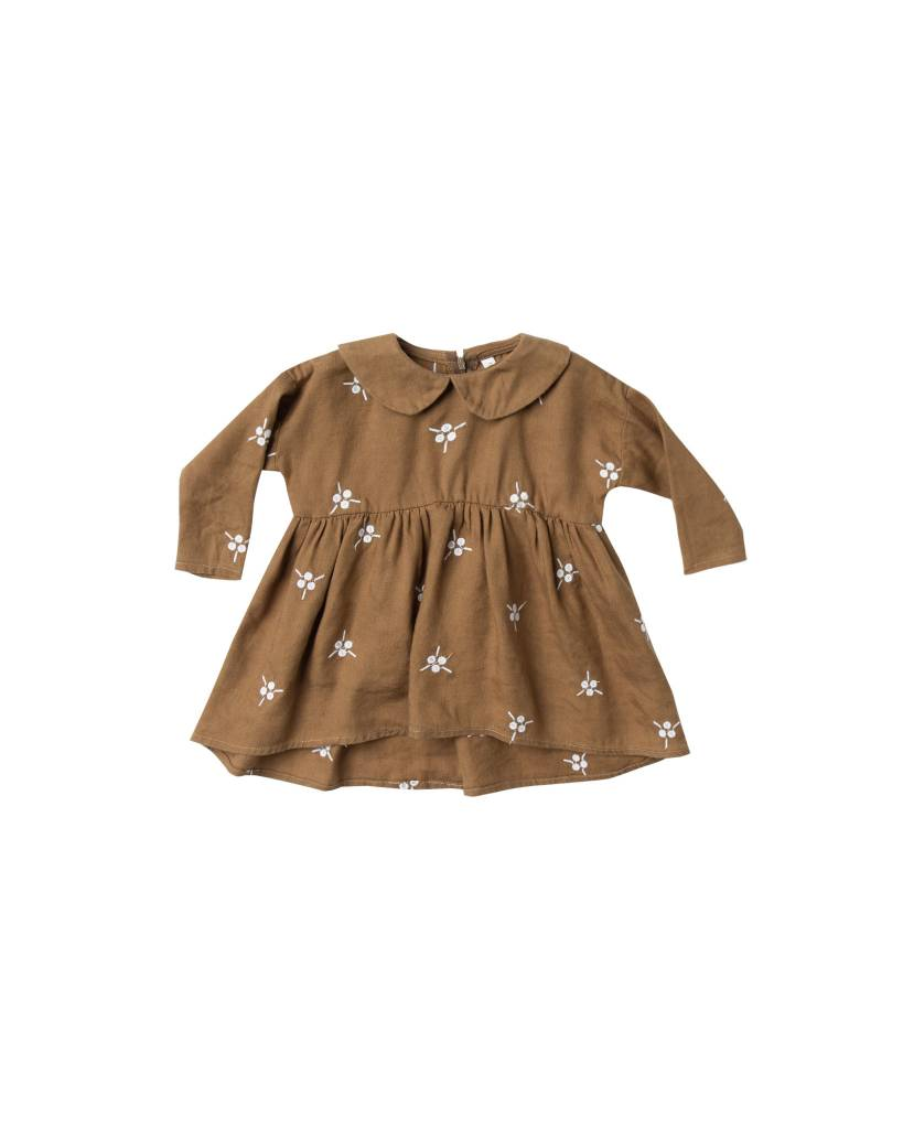 RYLEE AND CRU Baby Embroidered Berry Collared Dress