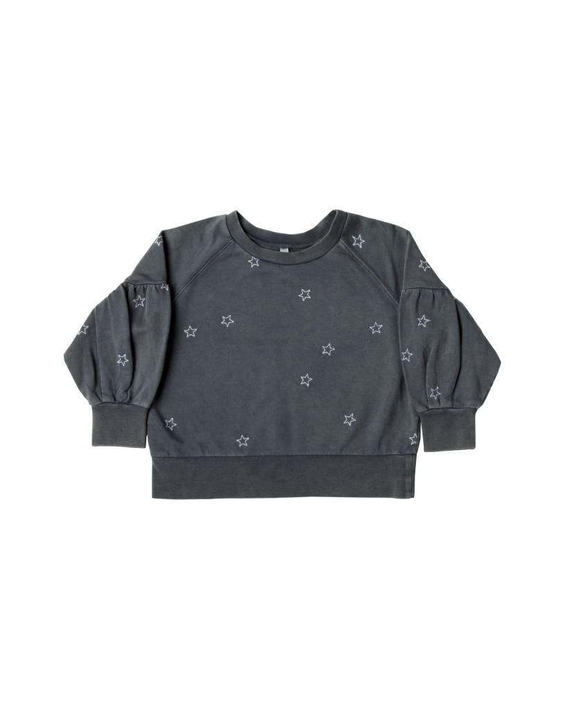 RYLEE AND CRU Star Embroidered Puff Sleeve Sweatshirt