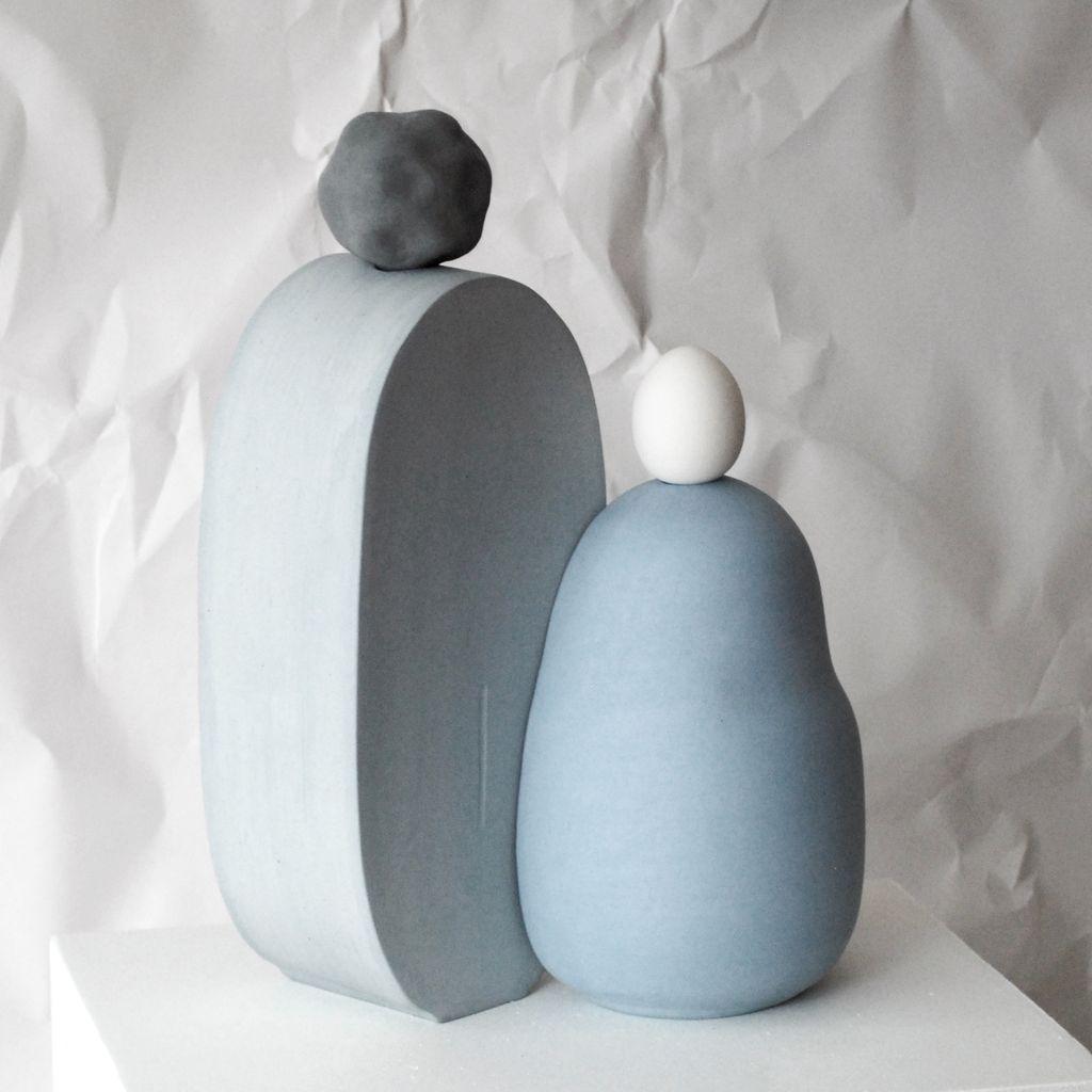FAMILY 1, Blue, Stoneware Sculpture, 2017