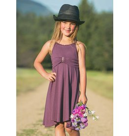 """Nomads Hempwear Mini Bonita babydoll dress with a Racer T back, ruffled neckline and three rivets on the """"belt"""". Extra flow-y asymmetrical skirt was kid spinning tested and approved!"""