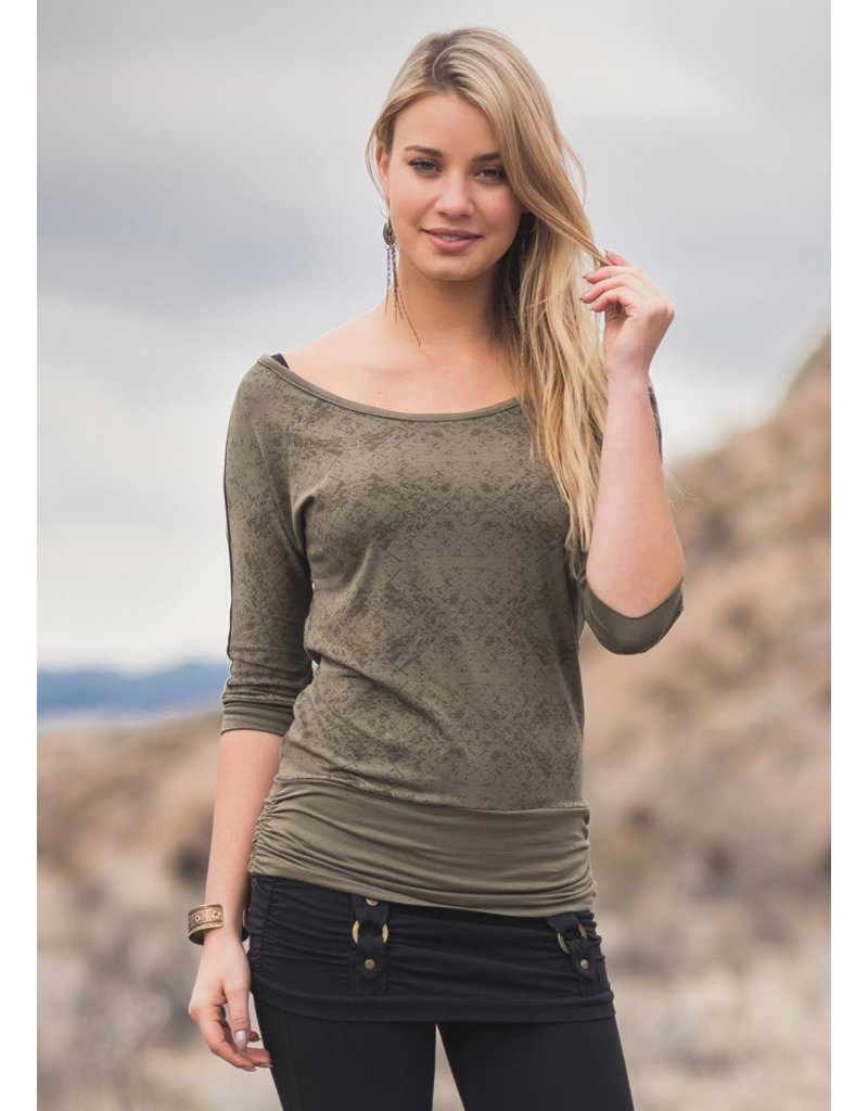 Nomads Hempwear Be the maniac on the dance floor in your off-the shoulder, 80's inspired loose boat neck tee. Grommets down the length of the sleeves, looser torso tightens at the hip. Perfect for dancing like you've never danced before. Now in our new light bamboo with