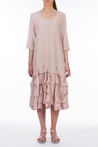 Frilled Hem Silk Midi Dress