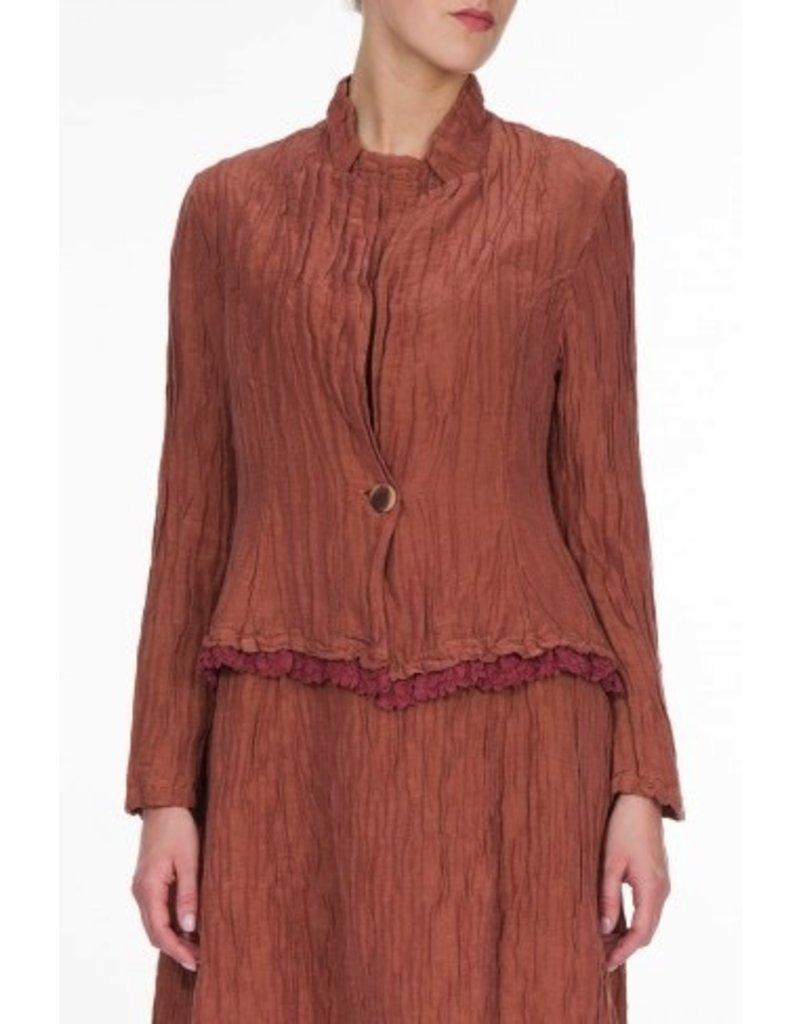 Crinkle Silk & Linen Jacket W/Ruffle