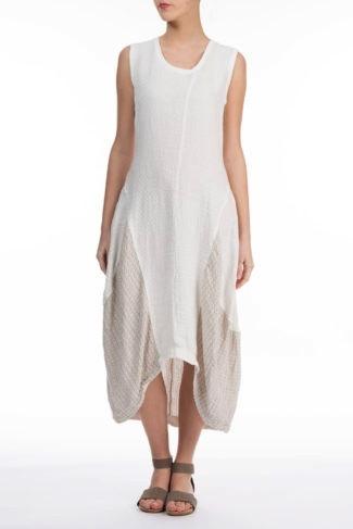 Linen Patch High Low Hem Maxi Dress