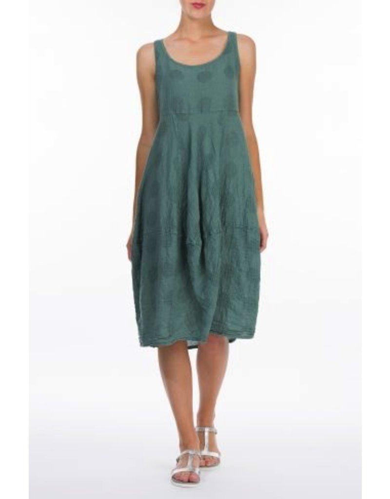 Linen & Cotton Balloon Dress W/Bubbles