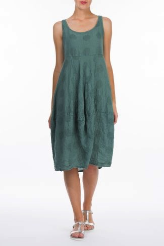 Linen & Cotton Balloon Dress W/Bubbles