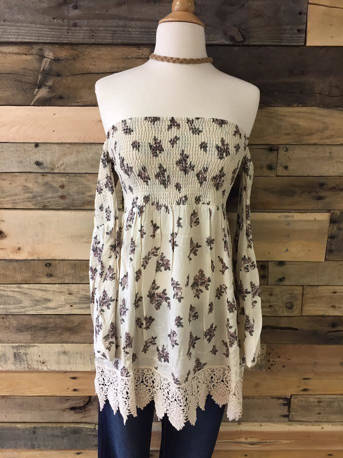 Cream Strapless Floral Top