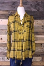Mustard/Black Lace-Up Top