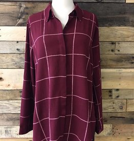 Burgundy Woven Button-Up