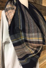 Brown/Navy/Mustard Blanket Scarf