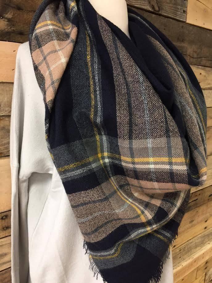 Brown/Navy/Mustard Blanket Scarf