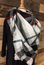 White/Black/Green Blanket Scarf