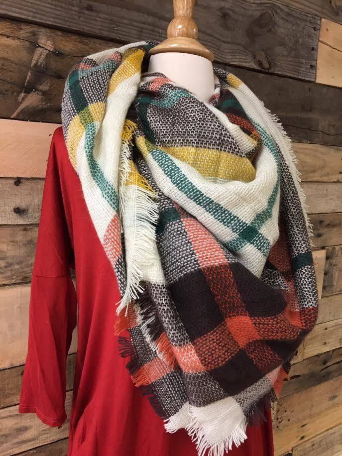 Rust/Brown/Ivory Blanket Scarf
