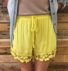 Yellow Crochet Trim Shorts