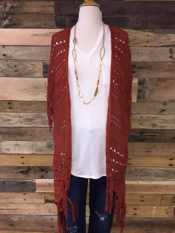 Rust Crochet Knit Kimono